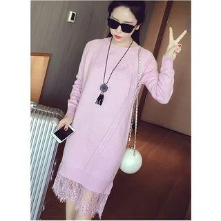 MAVIS Lace Hem Midi Knit Dress