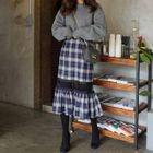 Ruffle Hem Plaid Midi Skirt 1596