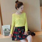 Set: Plain Sweater + Floral Print A-Line Skirt 1596