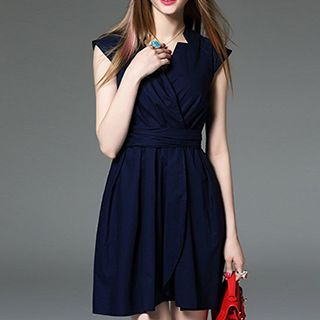 Cap-Sleeve Tie-Waist Plain Dress 1050560438