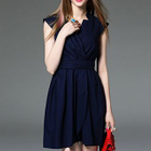Cap-Sleeve Tie-Waist Plain Dress 1596