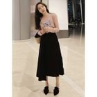 Band-Waist Ruffled Long Skirt 1596