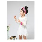 Mother and Kids Elbow-Sleeve Lace Dress 1596