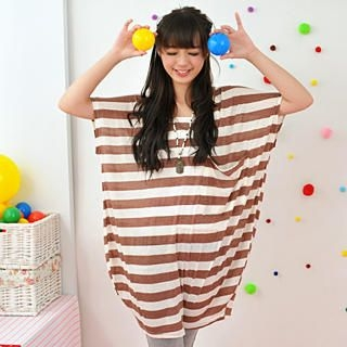 Buy 59 Seconds Oversized Striped Tee Coffee – One Size 1022465638