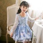 Kids Rabbit Print Lace Panel Long Sleeve Dress 1596