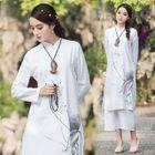 Floral Print Mandarin Collar Long Sleeve Dress 1596