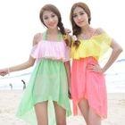 Set: Bikini + Color-Block Ruffled Dress 1596