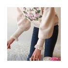 Drop-Shoulder Embroidered Knit Top 1596
