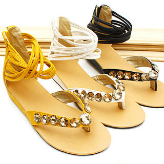 Buy KAWO Cross-Strap Jeweled Thong Sandals 1022769053