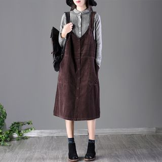 Corduroy Pinafore Midi Dress 1065630067