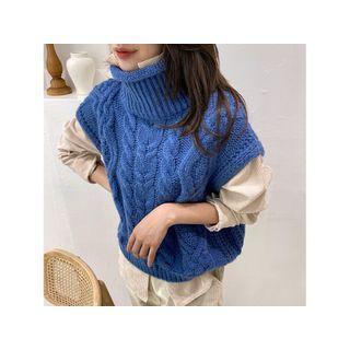 Turtleneck Cable-knit Vest