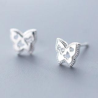 Rhinestone | Butterfly | Sterling | Earring | Figure | Silver | Stud | Size | One
