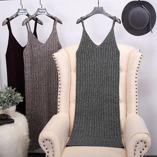 Ribbed Spaghetti Strap Knit Dress 1056777387
