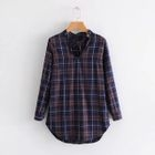 Plaid V-Neck Long Shirt 1596