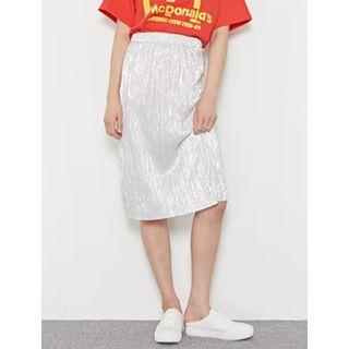 Ribbed Lam  Midi Skirt 1051305607