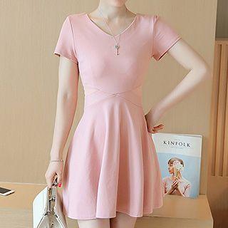 Short-Sleeve V-Neck Dress 1051142023