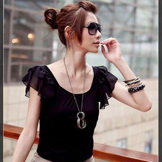 Picture of PUFFY Chiffon Details Crewneck Top Black - One Size 1022940005 (PUFFY Tees, Womens Tees, Taiwan Tees, Causal Tops, Crew Neck Shirts)