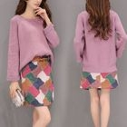 Set : Plain Knit Top + Faux Suede Print Skirt 1596