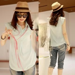 Buy ODDmolly Cap-Sleeve Sheer Blouse with Strap 1022991395
