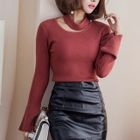 Bell-Sleeve Cutout Knit Top 1596