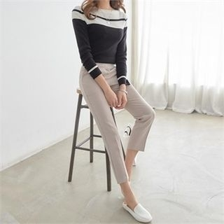 Boat-Neck Two-Tone Knit Top 1065219481