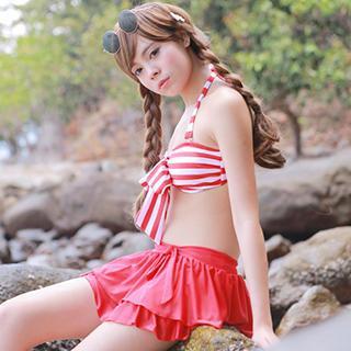 Bow-Accent Striped Bikini 1044799507
