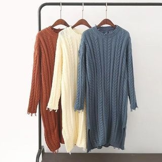 Ribbed Long-Sleeve Knit Dress 1062660545