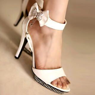 Buy Kvoll Bow-Accent Rhinestone Platform Sandals 1022741296