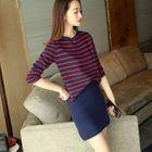 Set: Stripe 3/4-Sleeve Knit Top + Skirt 1596