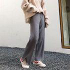 Plain Knit Wide-Leg Pants 1596