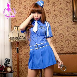 Police Party Costume Blue & White - One Size