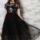 Short-Sleeve Lace Panel Midi Prom Dress 1596