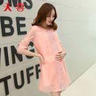 Maternity Elbow-Sleeve Lace Trim A-Line Dress 1596