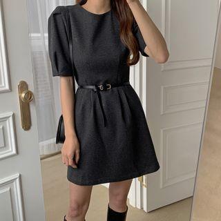 Puff-sleeve Herringbone A-line Dress With Belt