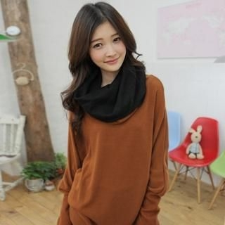 Picture of CLICK Inset Circle Scarf Sweater 1021689138 (CLICK Dresses, Womens Dresses, South Korea Dresses, Sweater Dresses)