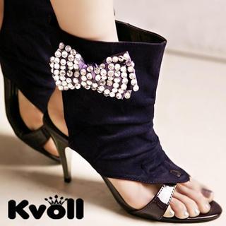 """Buy Kvoll Rhinestone """"Bow"""" Cuffed High-Heels 1022906188"""