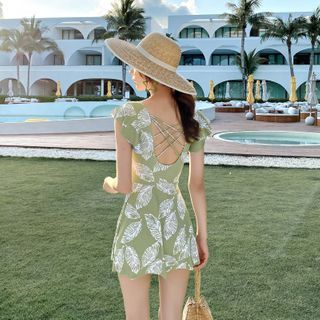Image of Cap-Sleeve Leaf Print Strappy Swimdress