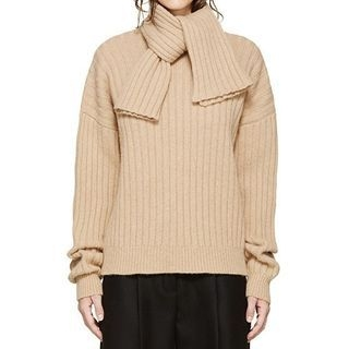 Scarf Collar Plain Rib Sweater 1062747725