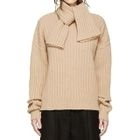 Scarf Collar Plain Rib Sweater 1596