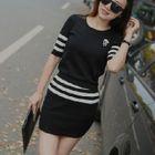 Set: Short-Sleeve Knit Top + Skirt 1596