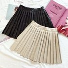 Accordion Pleat Faux Leather Skirt 1596