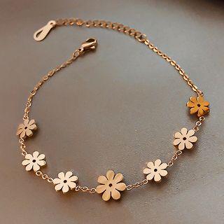 Image of Alloy Flower Bracelet Gold - One Size