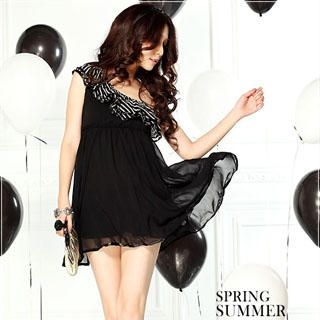 Buy Tian Mu One-Shoulder Zebra Print Chiffon Dress Black – One Size 1022953339