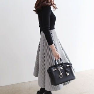 Set: Turtle-Neck Ribbed Top + Band-Waist Striped Long Skirt 1054307269