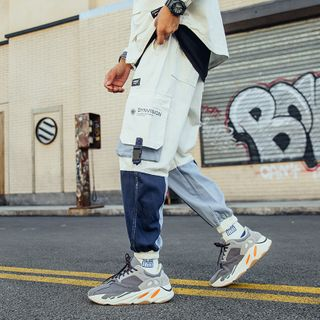 Image of Buckled-Accent Colorblock Cargo Jogger Pants