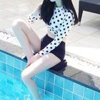 Set: Polka Dot Cropped Rashguard + High Waist Swim Bottom 1596