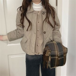 Quilted Button Jacket Khaki - One Size