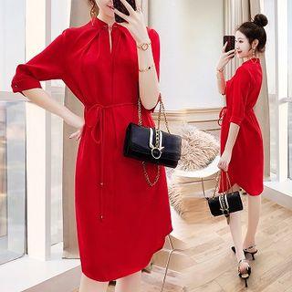 Rosewind Elbow-Sleeve Plain Stand-collar Dress