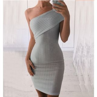 One-shoulder Ribbed Dress 1054093458