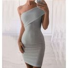 One-shoulder Ribbed Dress 1596